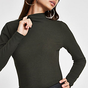 Khaki brushed ribbed high neck top