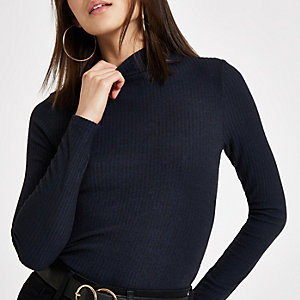 Navy ribbed high neck top