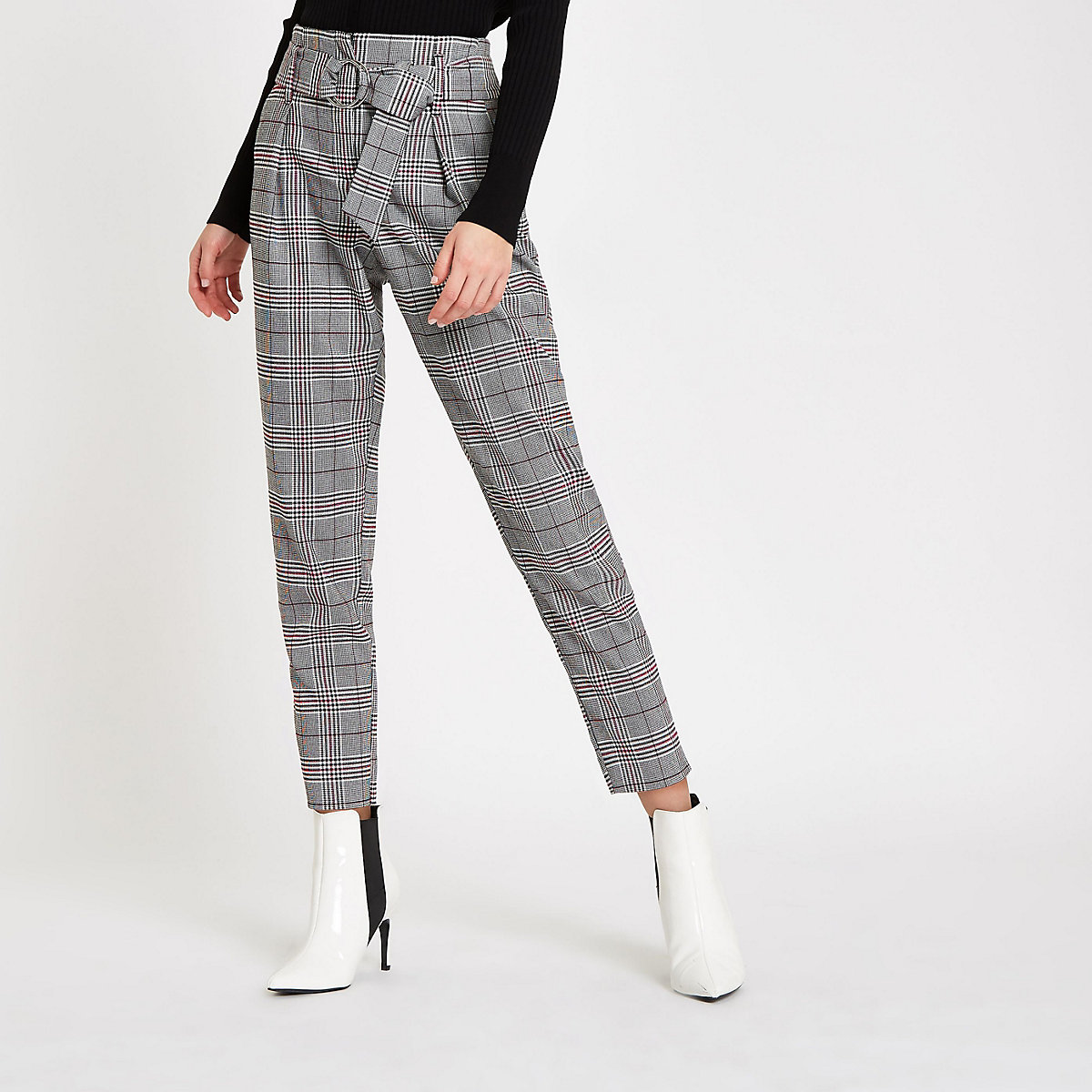 Red check belted tapered trousers