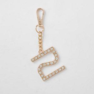 Gouden RI-sleutelring met ingelegde diamantjes
