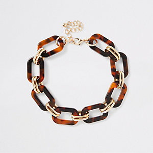 Brown tortoiseshell interlinked choker