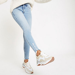 Petite light blue Molly frayed hem jeggings