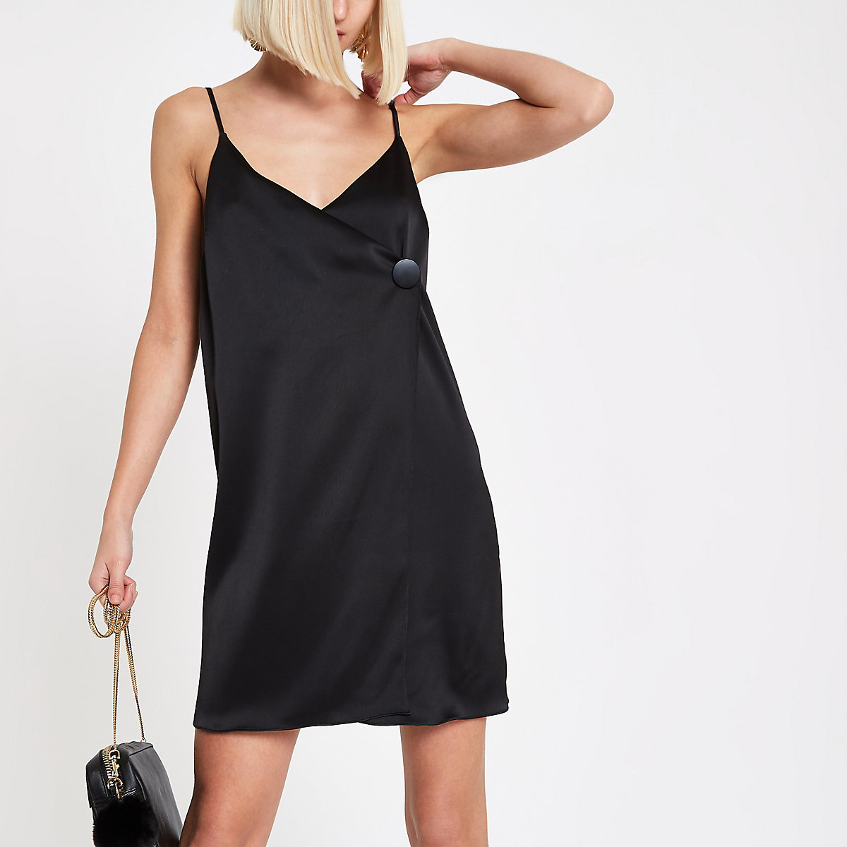 Black button cami swing dress