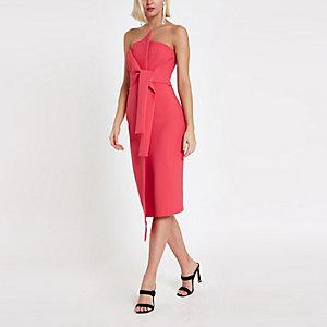 Roze bodycon mini-jurk in bandeaustijl