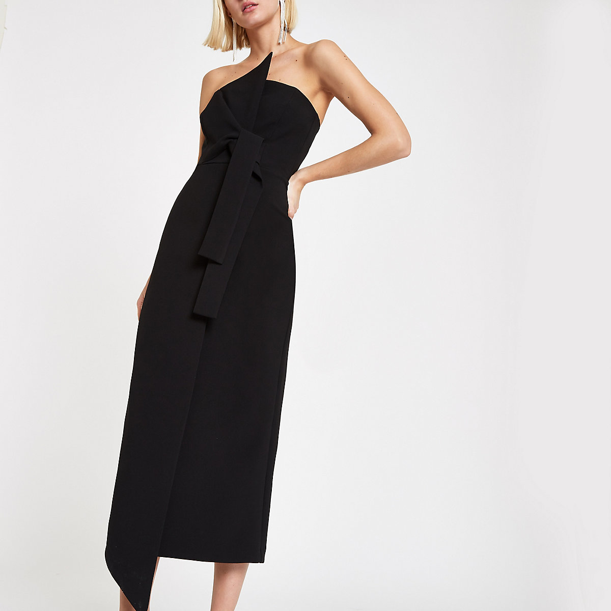 Black bandeau bodycon maxi dress