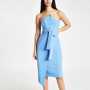 Blauwe bodycon midi-jurk in bandeaustijl