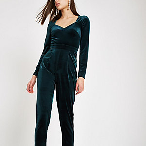 Dark green long sleeve velvet jumpsuit