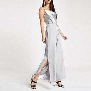 Silver cowl neck cami strap jumpsuit