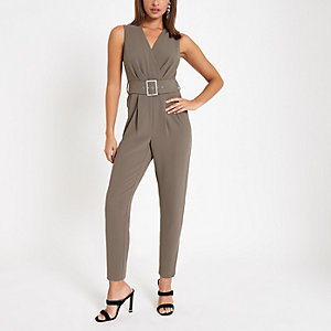 Grey wrap tie waist tapered leg jumpsuit