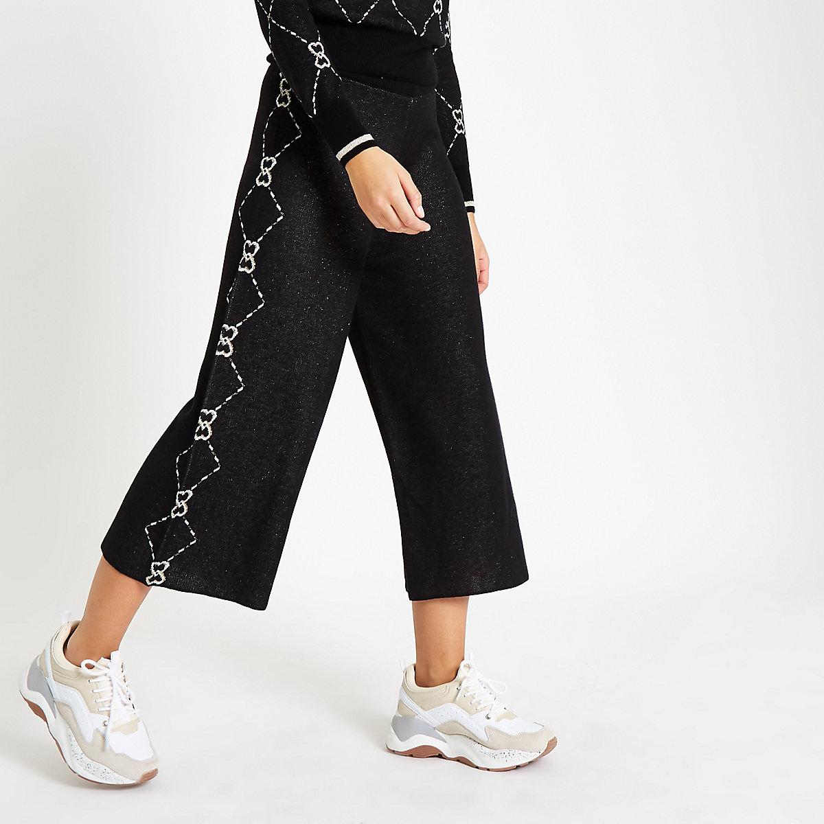 Black knit heart print metallic culottes
