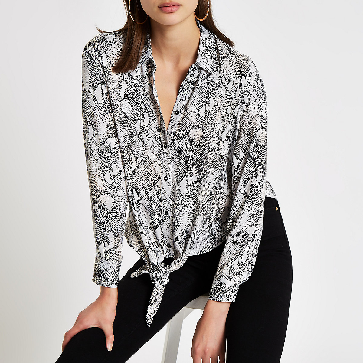 c93ceedc060 Grey snake print tie front shirt - Shirts - Tops - women