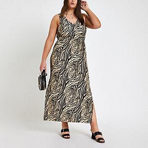 Plus – Robe longue imprimé zèbre noire