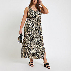 Plus black zebra print maxi dress