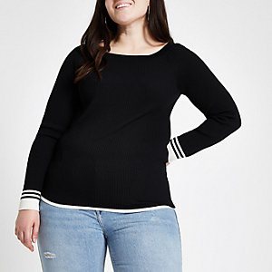 Plus black tipped boat neck top