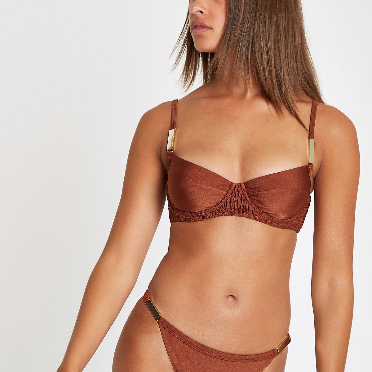 Brown shirred balconette bikini top