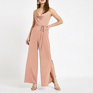 Petite pink cowl neck jumpsuit