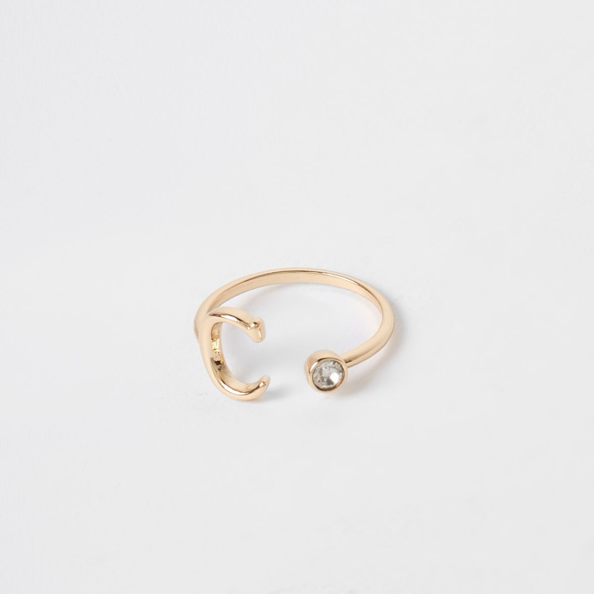 Gold tone 'C' initial ring