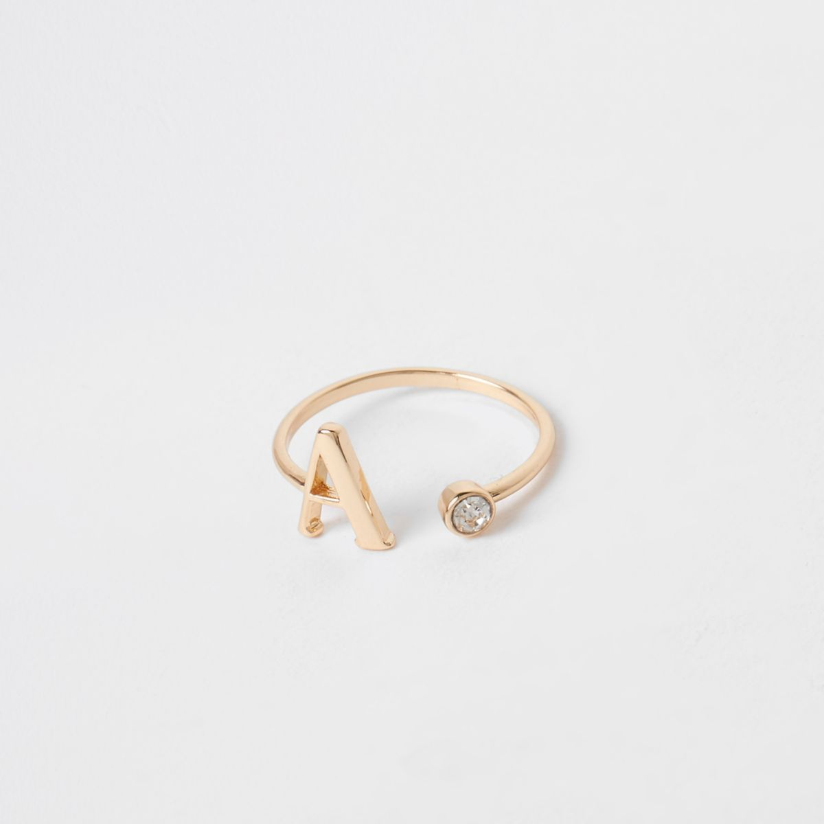 Gold plated 'A' initial ring