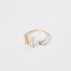 Gold plated 'M' initial ring