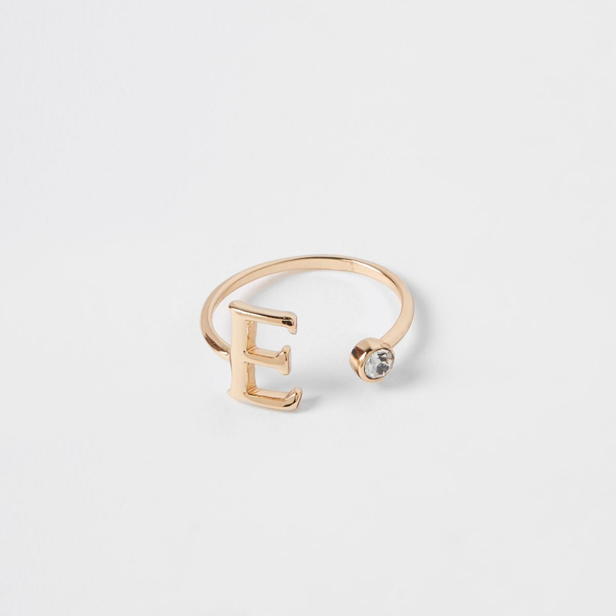 Gold plated 'E' initial ring