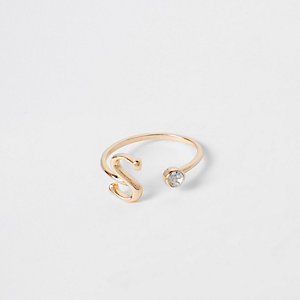 Gold plated 'S' initial ring