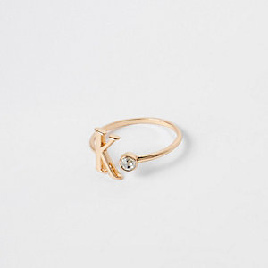 Gold plated 'K' initial ring