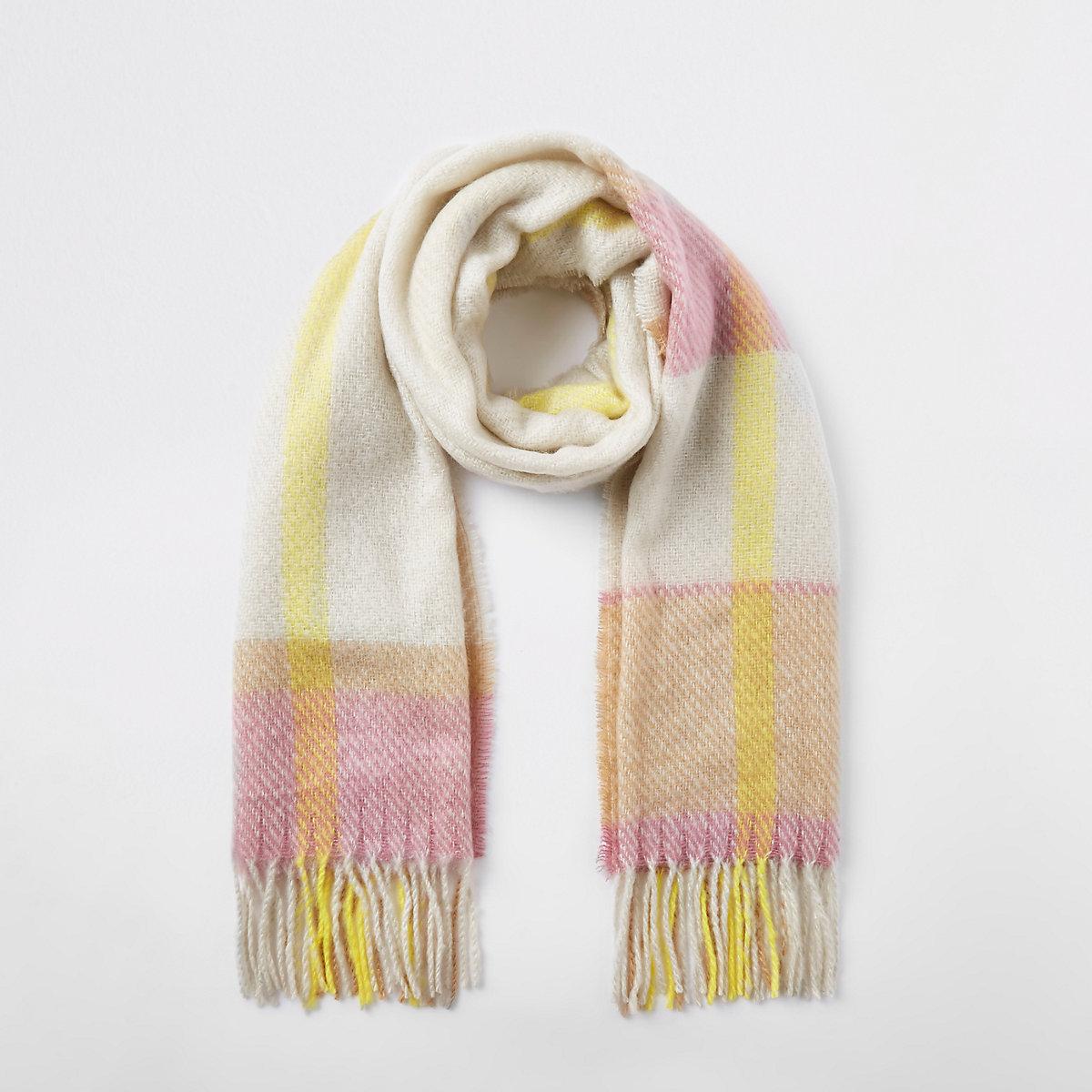Écharpe à carreaux beige - Écharpes - Accessoires - Femme d5521137ba3