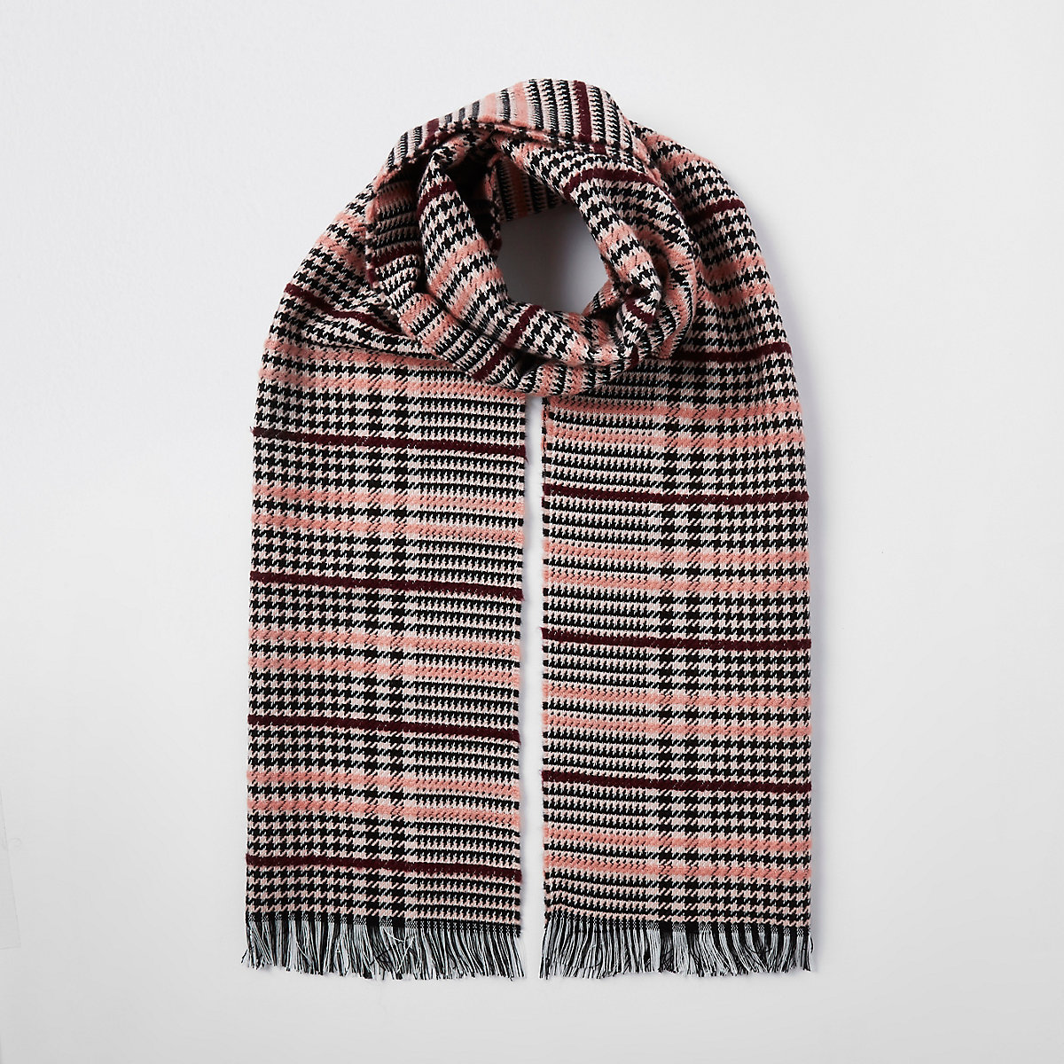 Pink boucle check scarf