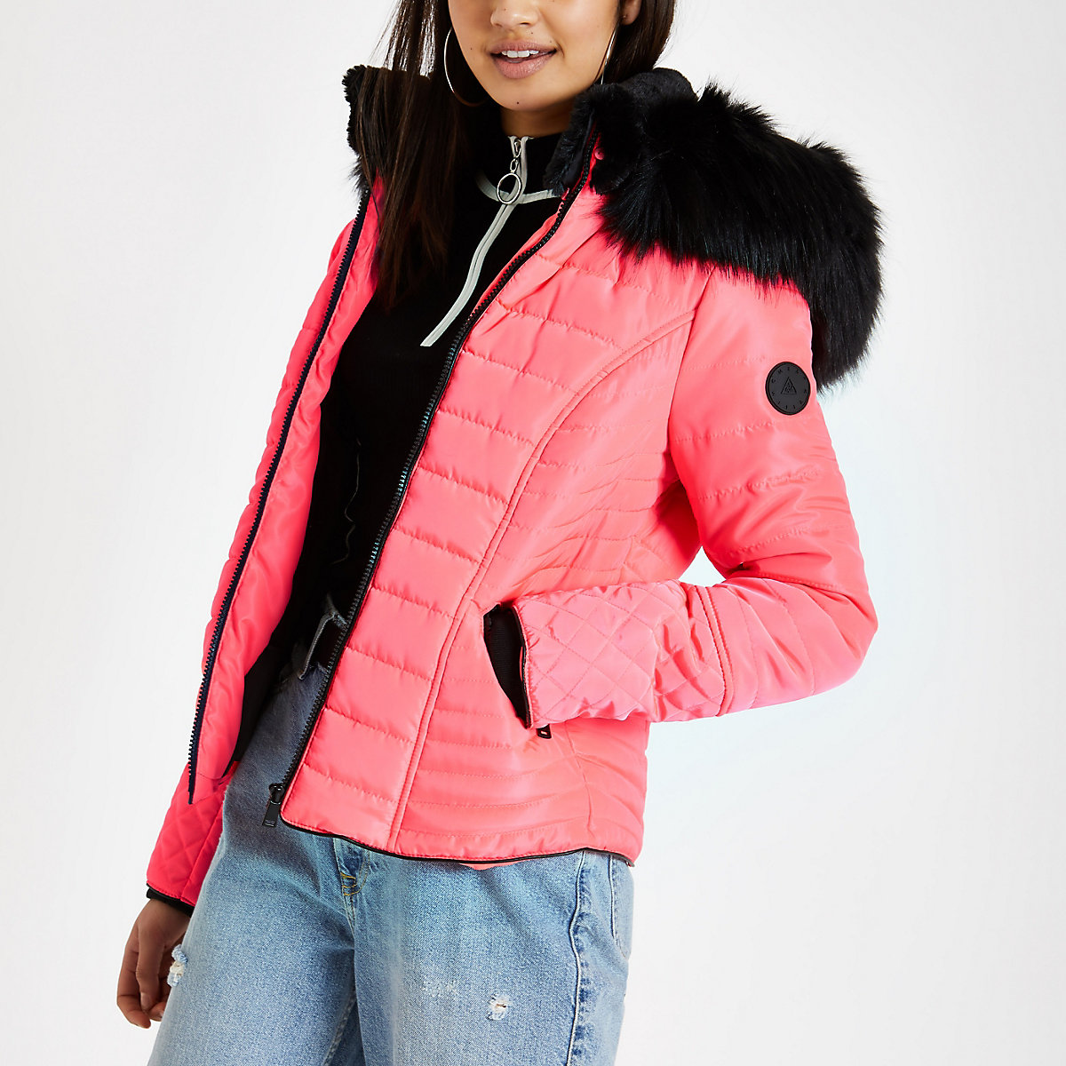 Neon pink faux fur hood padded coat