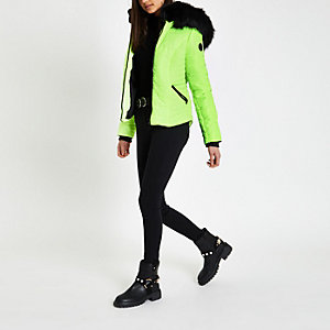 Neon yellow faux fur hood padded coat