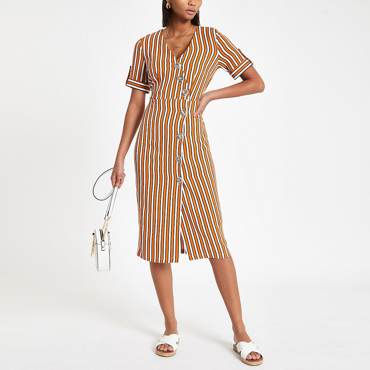 Orange stripe print button front midi dress