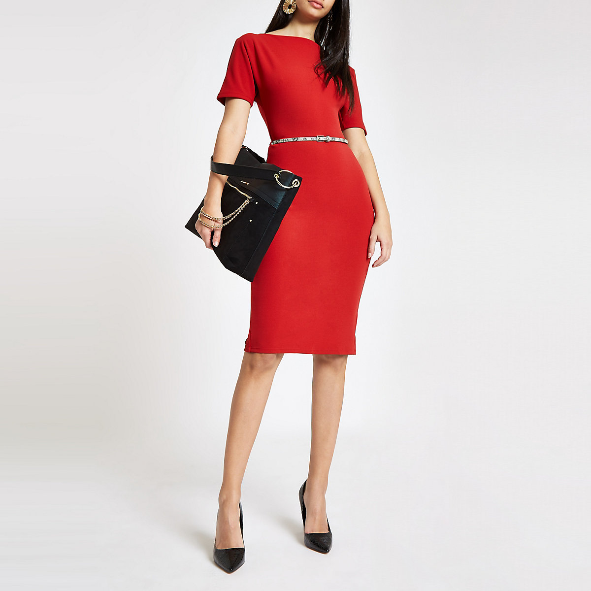 Red boat neck belted bodycon midi dress