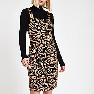 Brown zebra print wrap pinafore mini dress