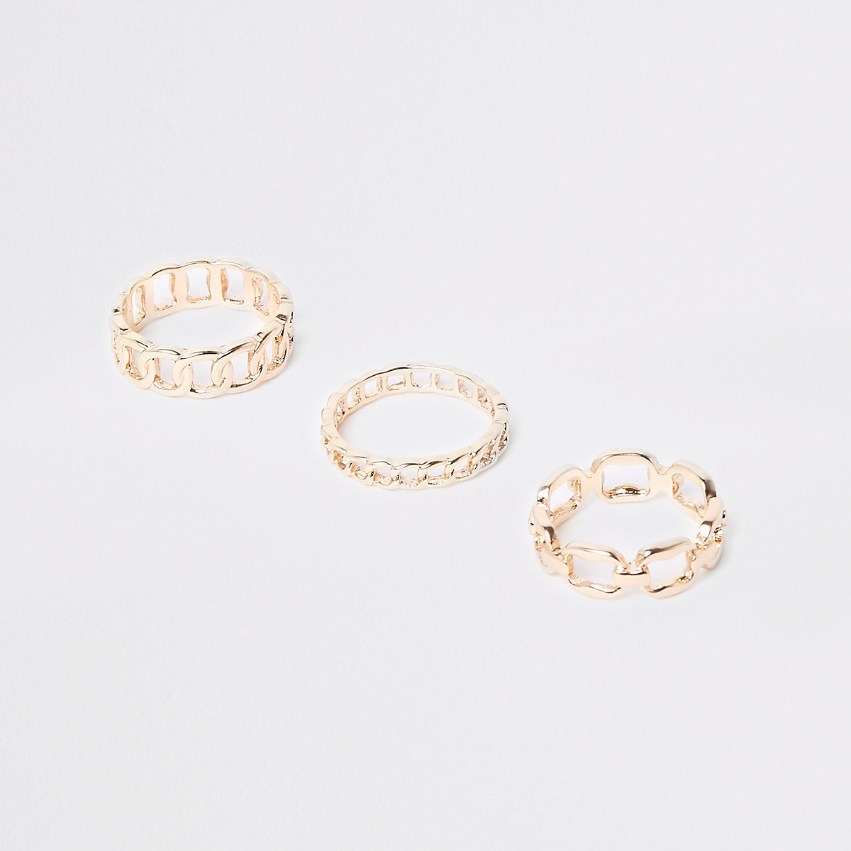 Gold tone curb chain ring pack