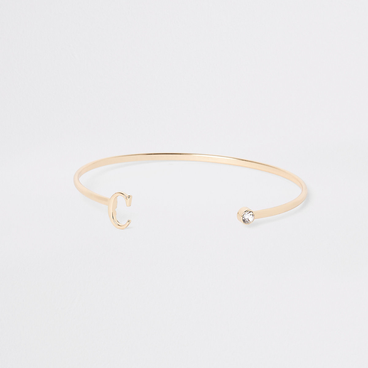Gold plated 'C' initial cuff bracelet