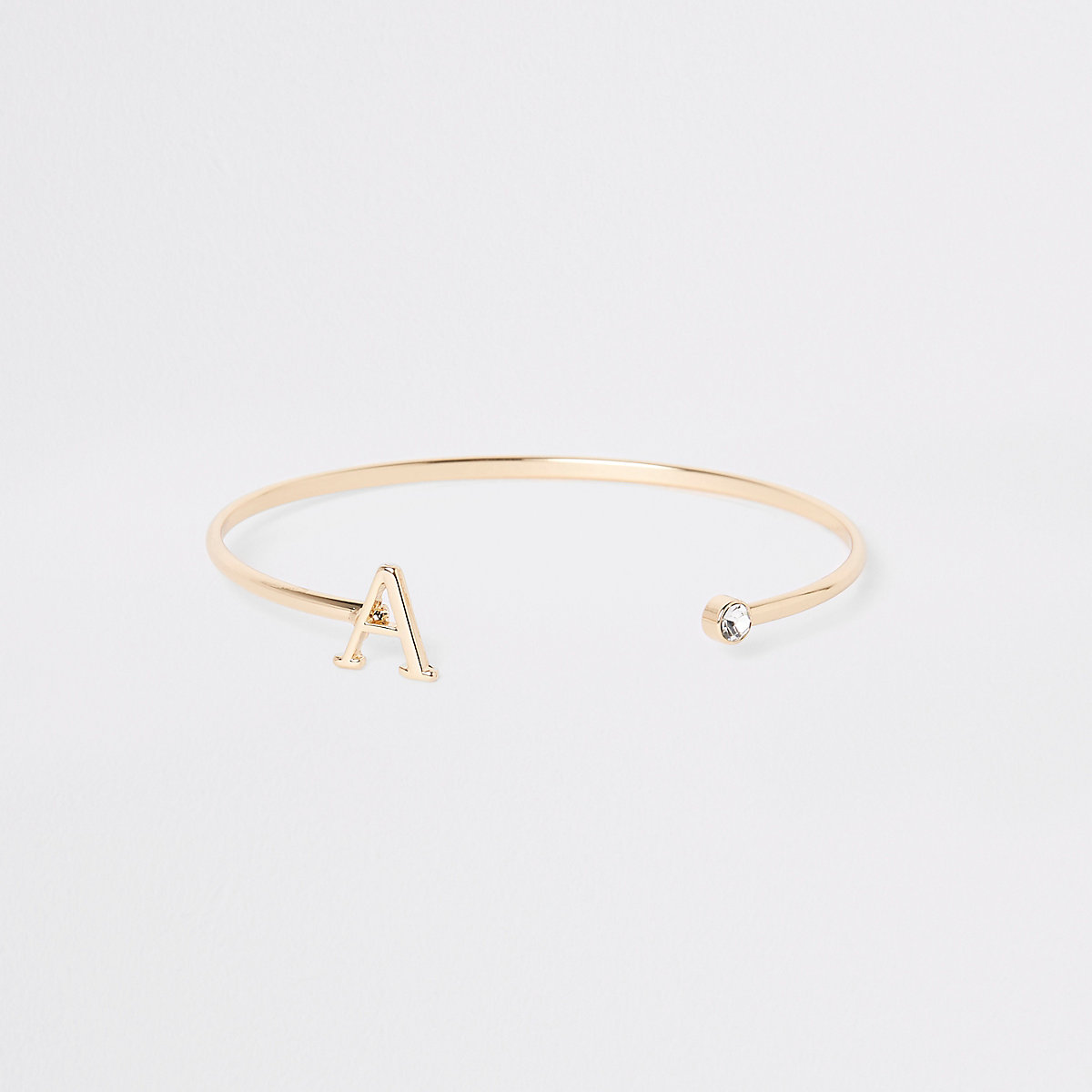 Gold plated 'A' initial cuff bracelet