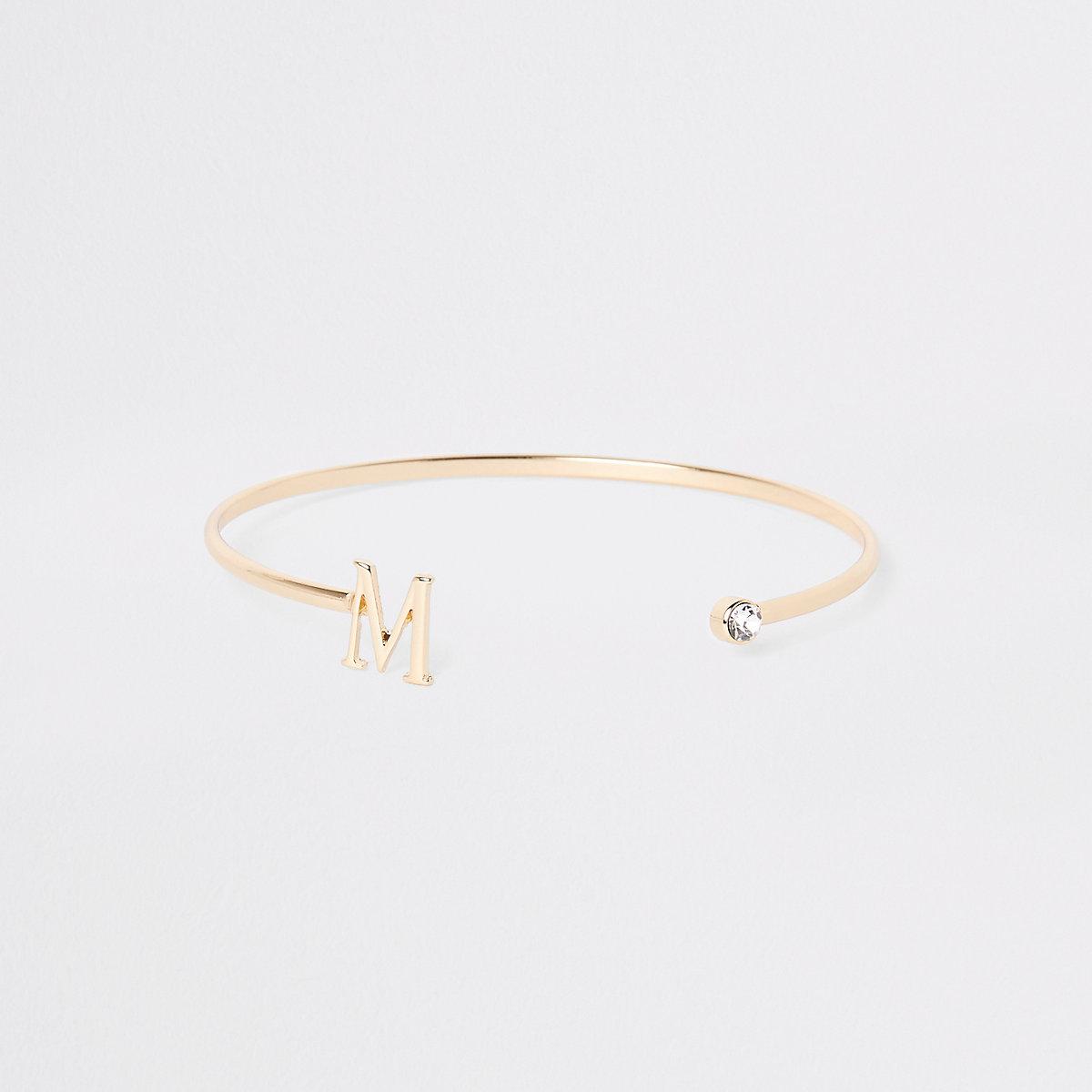 Bracelet Gold Plated M Initial Cuff