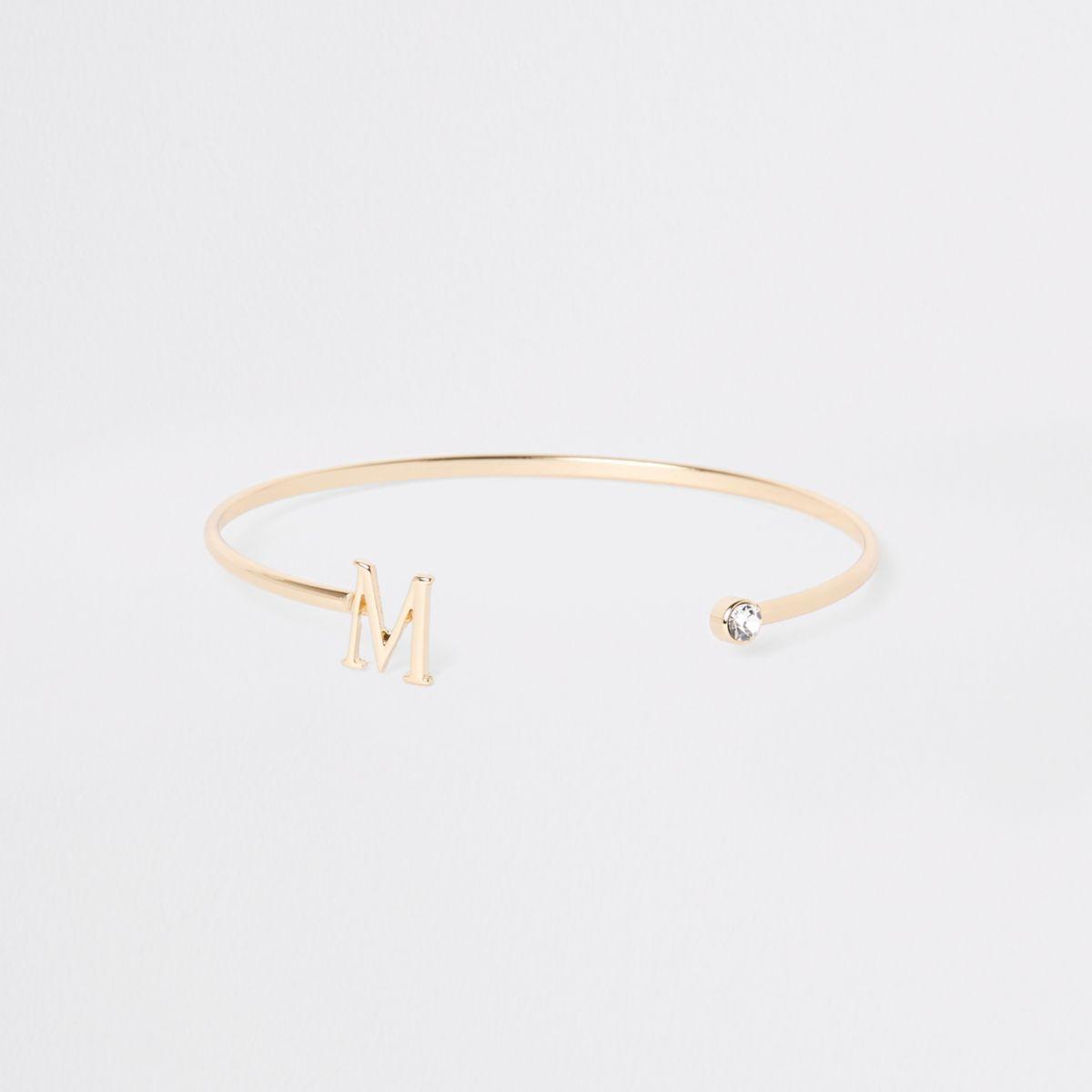 Gold plated 'M' initial cuff bracelet