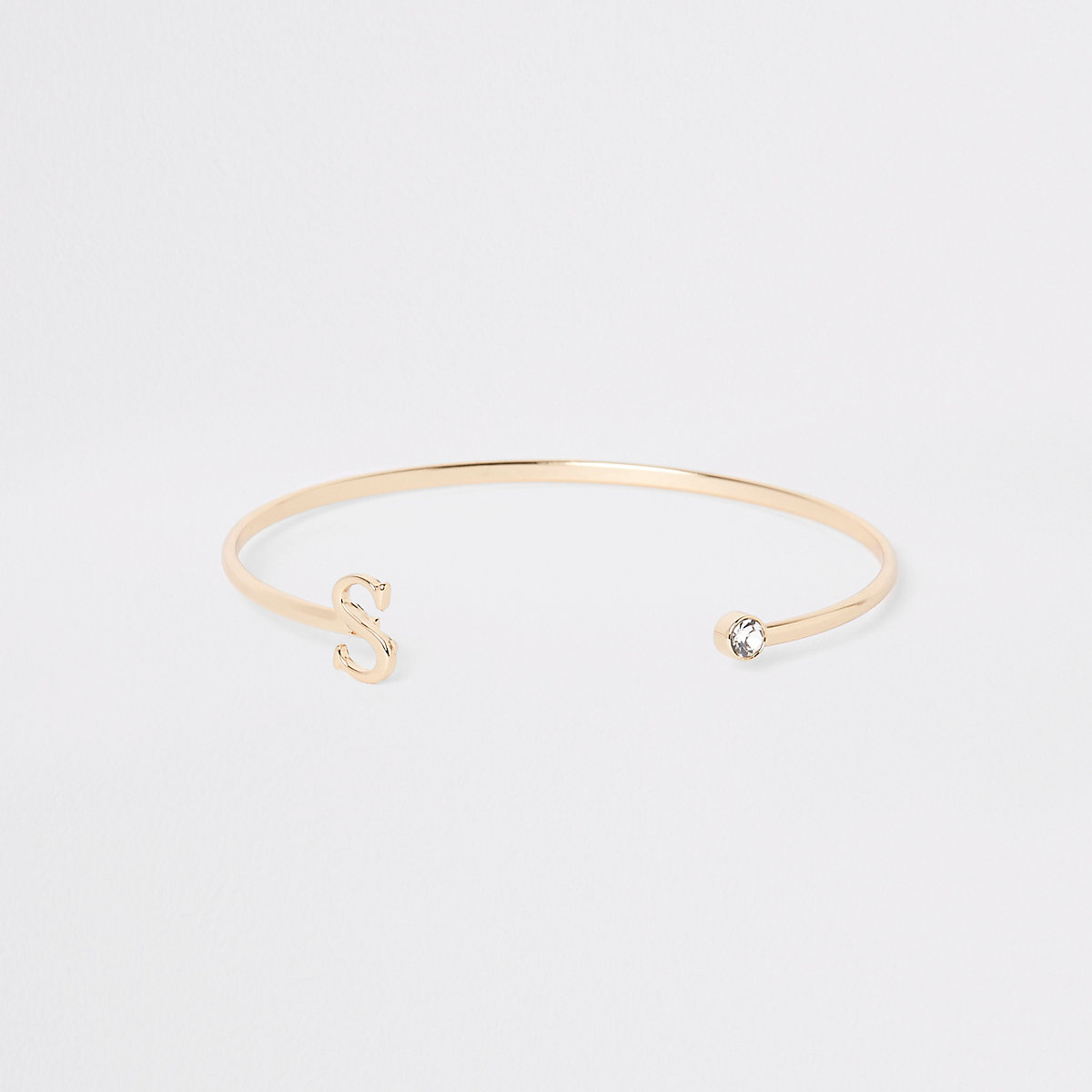 Gold plated 'S' initial cuff bracelet