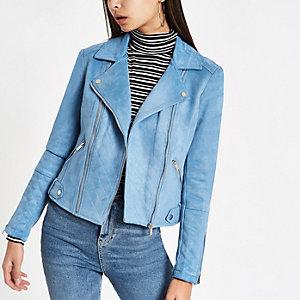 Blue suede quilted biker jacket