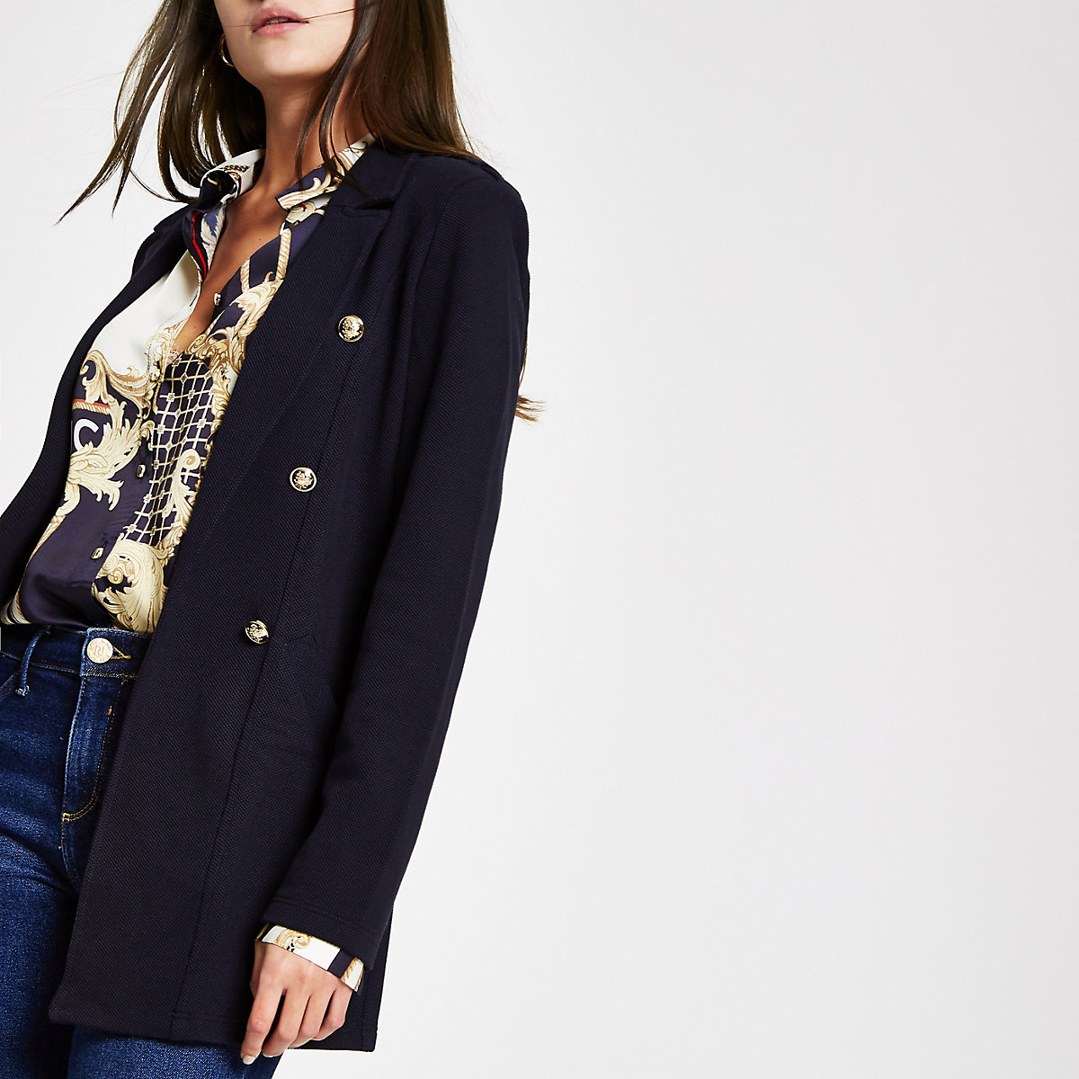 Navy button detail long line blazer