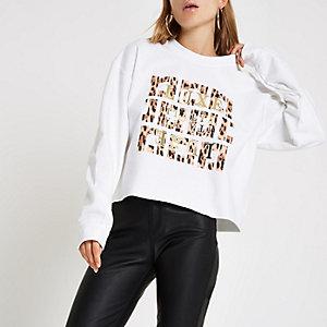 White 'luxe' leopard print sweatshirt