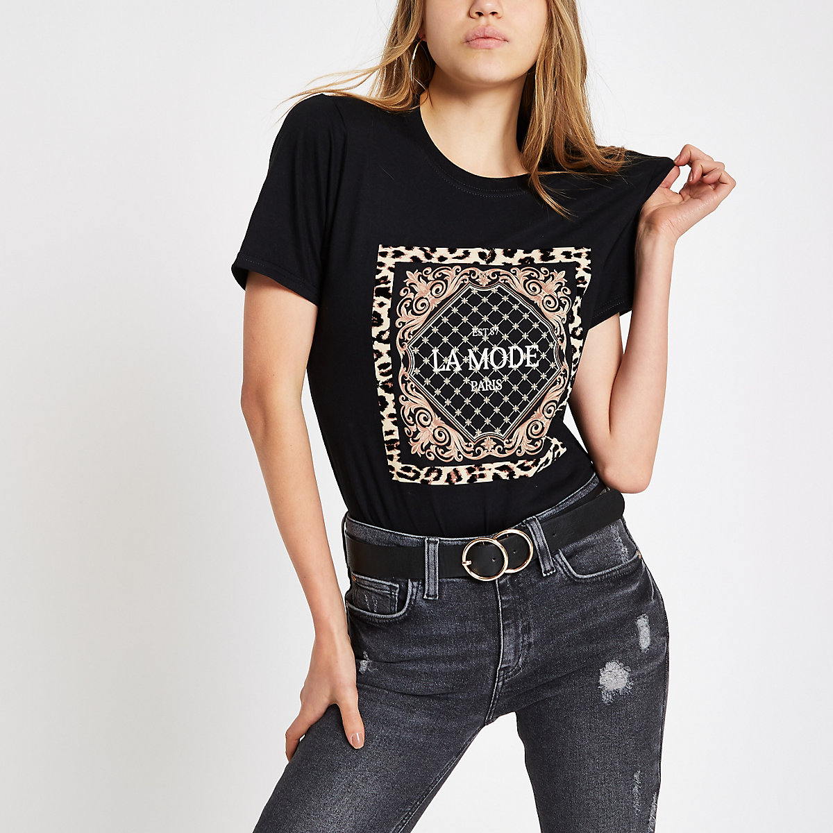 Black 'la mode' flock T-shirt