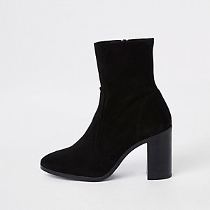 Black suede block heel sock boots