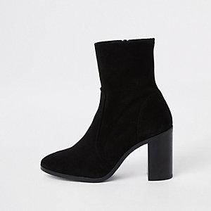 Zwarte suède sock boots met blokhak
