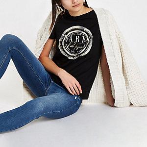 Black 'Paris' snake print T-shirt
