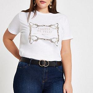 Plus white belt print T-shirt