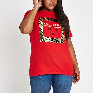 Plus red 'Amoureux' gold foil T-shirt