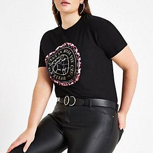 Plus black 'La belle' neon print T-shirt