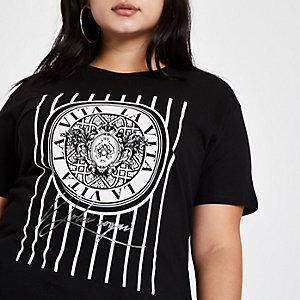 Plus black 'la vita' print T-shirt